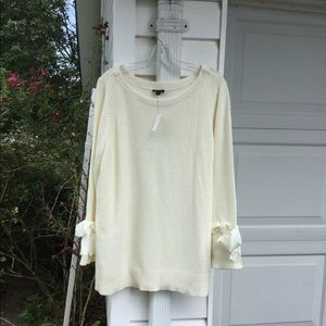 NWT Talbots Pretty Cream Bows On Sleeves Sweater